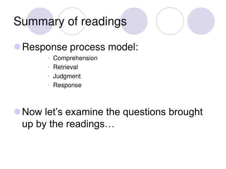 Summary of readings1