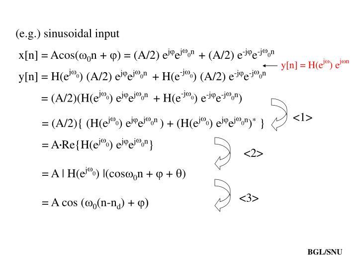 (e.g.) sinusoidal input