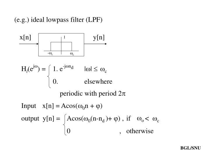 (e.g.) ideal lowpass filter (LPF)