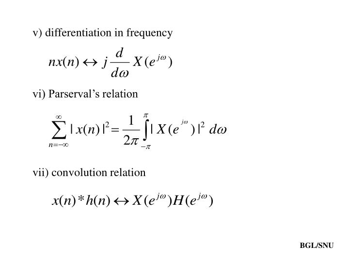 v) differentiation in frequency