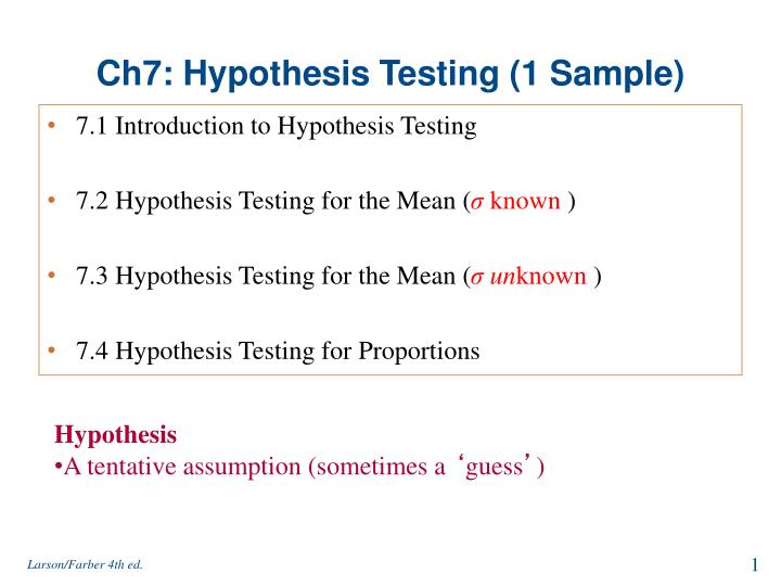Ch7 hypothesis testing 1 sample