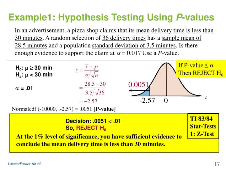 Example1: Hypothesis Testing Using