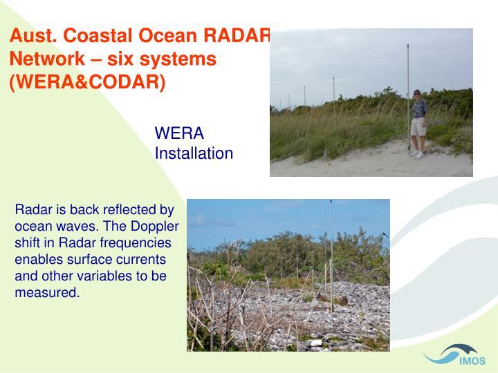 Aust. Coastal Ocean RADAR Network – six systems (WERA&CODAR)