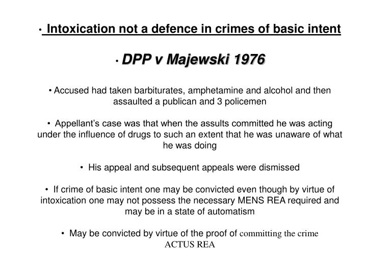 intoxication not a defence for crime