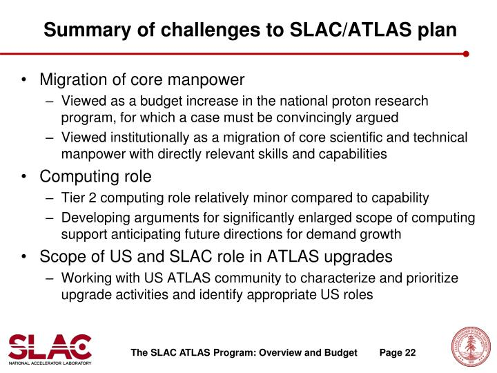 Summary of challenges to SLAC/ATLAS plan