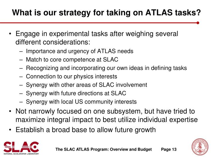 What is our strategy for taking on ATLAS tasks?