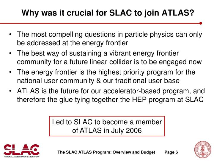 Why was it crucial for SLAC to join ATLAS?