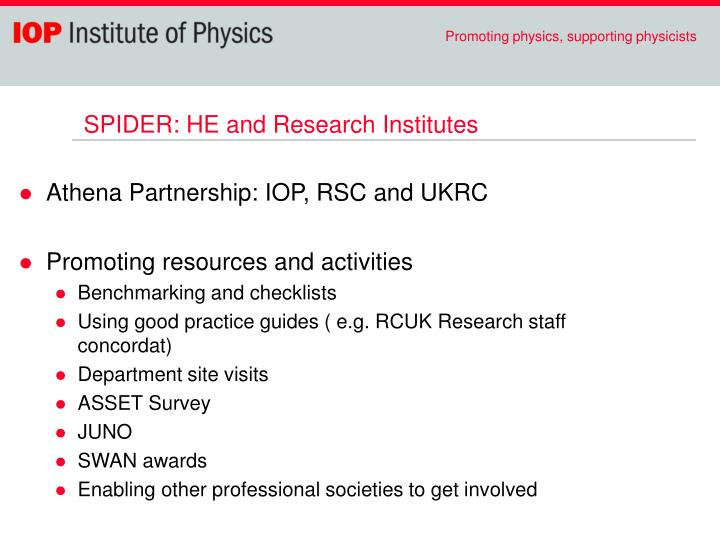 SPIDER: HE and Research Institutes
