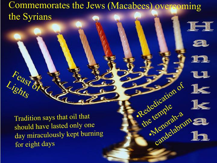 Commemorates the Jews (Macabees) overcoming the Syrians