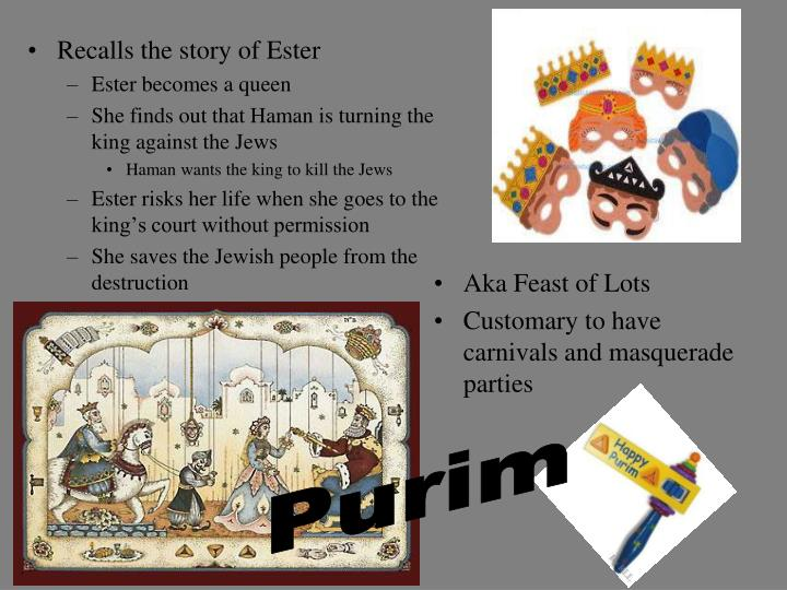 Recalls the story of Ester