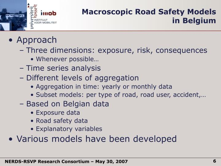 Macroscopic Road Safety Models