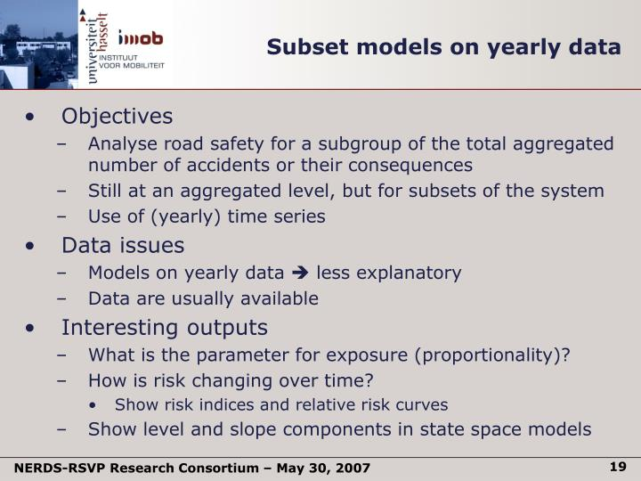 Subset models on yearly data