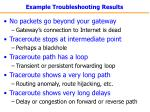 example troubleshooting results
