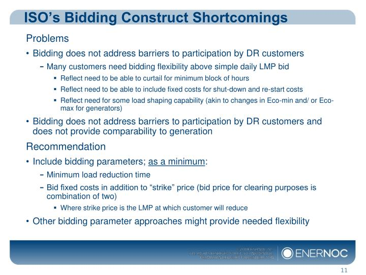 ISO's Bidding Construct Shortcomings