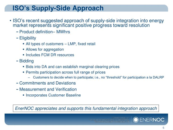 ISO's Supply-Side Approach