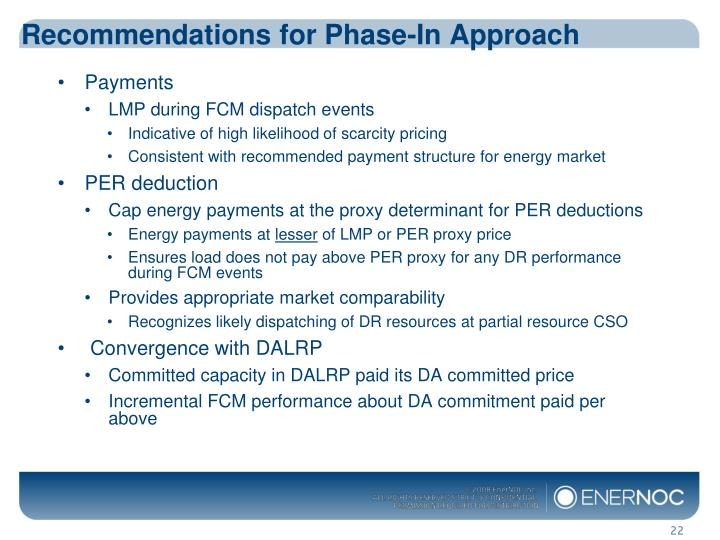 Recommendations for Phase-In Approach