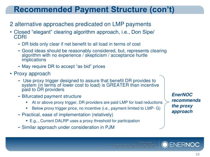 Recommended Payment Structure (con't)