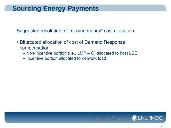 Sourcing Energy Payments