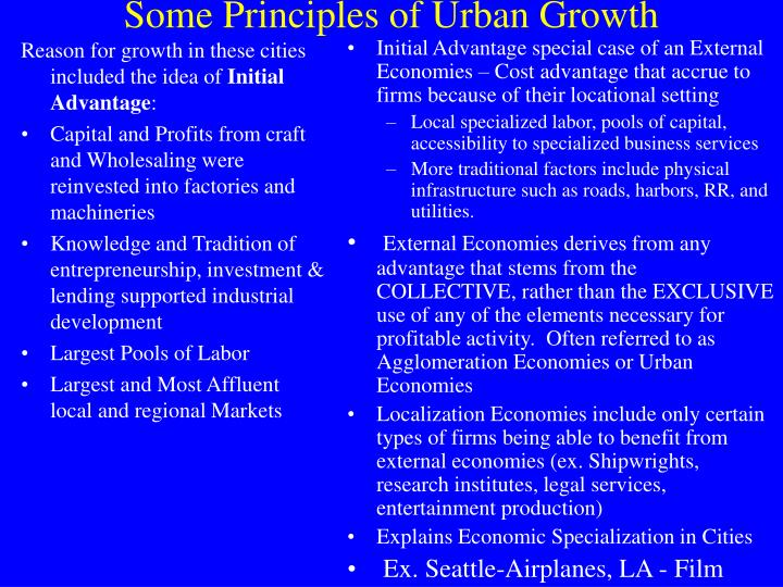 Reason for growth in these cities included the idea of