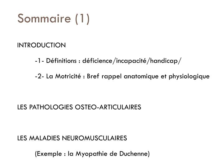 Sommaire 1