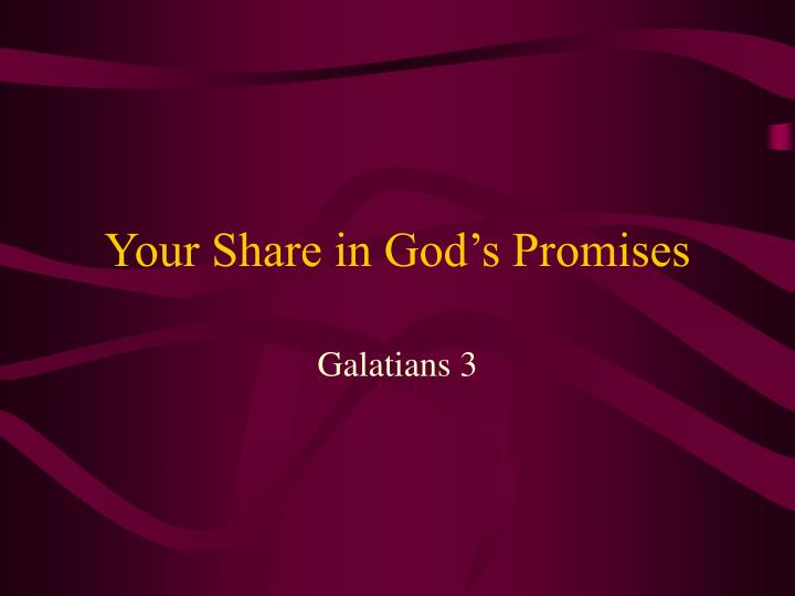 Your share in god s promises