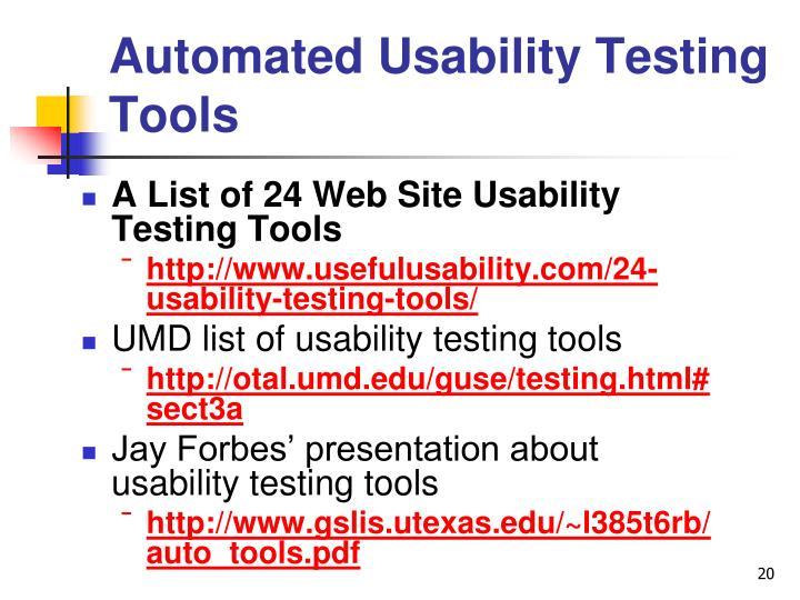 Automated Usability Testing Tools