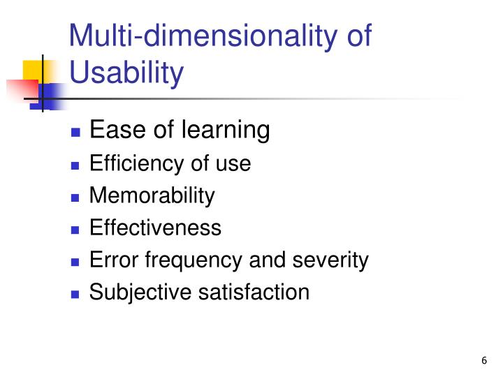 Multi-dimensionality of Usability