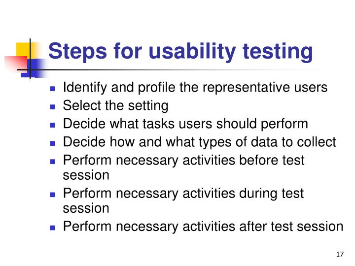 Steps for usability testing