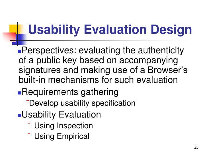 Usability Evaluation Design