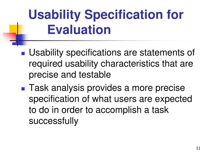 Usability Specification for Evaluation