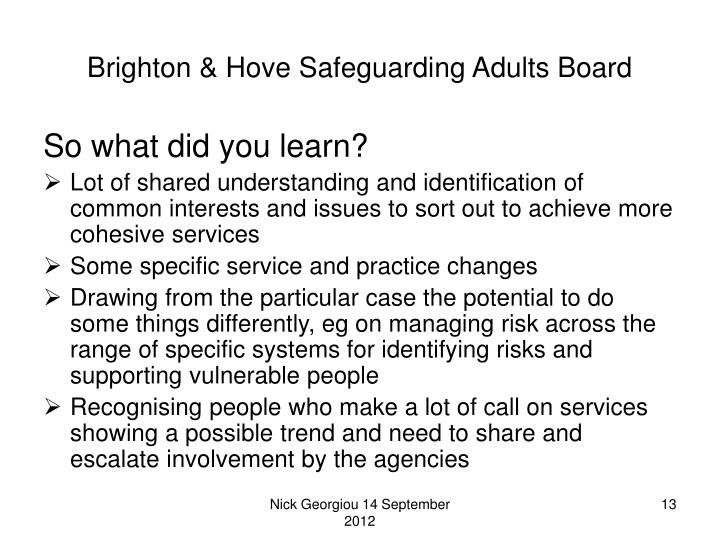 Brighton & Hove Safeguarding Adults Board