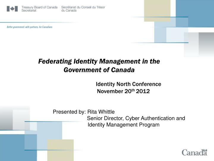 federating identity management in the government of canada n.