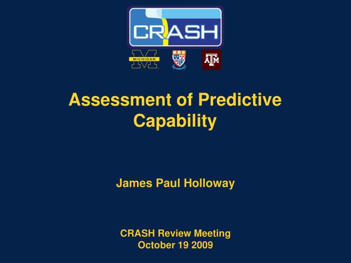 assessment of predictive capability n.