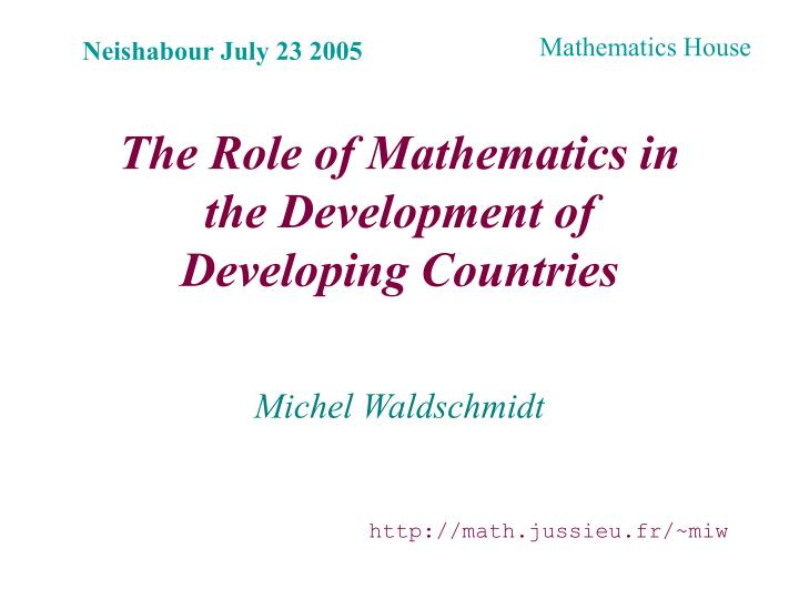 the role of mathematics in the development of developing countries n.