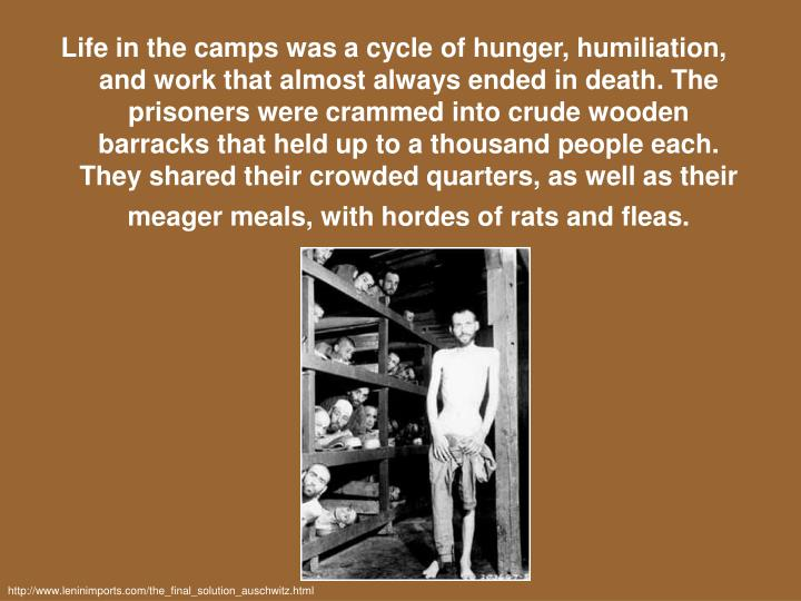 Life in the camps was a cycle of hunger, humiliation, and work that almost always ended in death. The prisoners were crammed into crude wooden barracks that held up to a thousand people each. They shared their crowded quarters, as well as their meager meals, with hordes of rats and fleas.