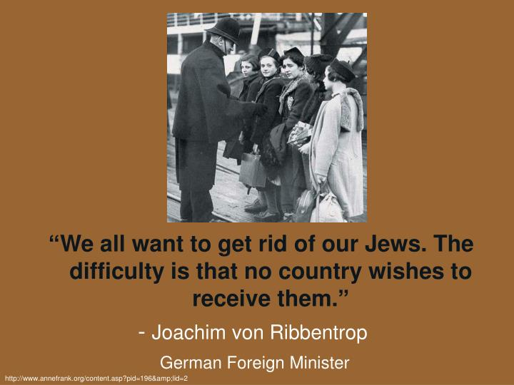 """We all want to get rid of our Jews. The difficulty is that no country wishes to receive them."""