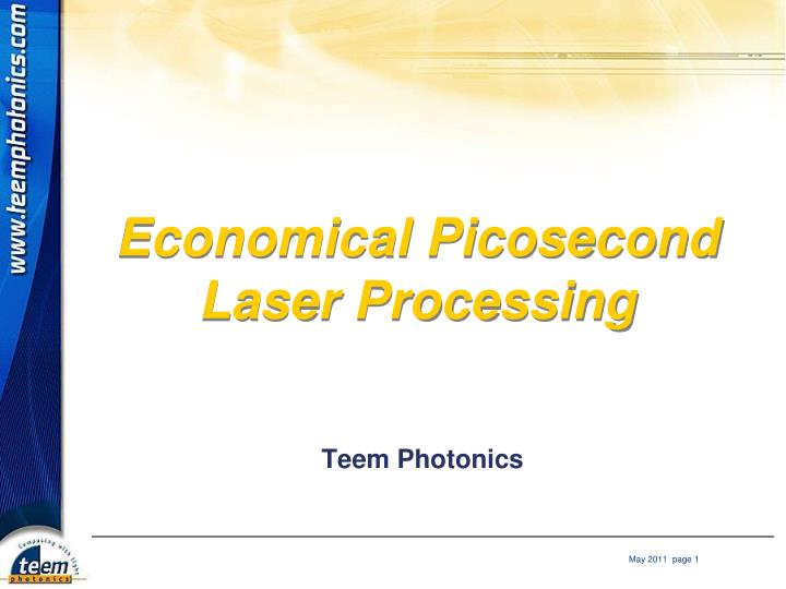 economical picosecond laser processing n.