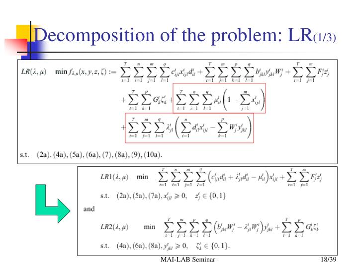 Decomposition of the problem: LR