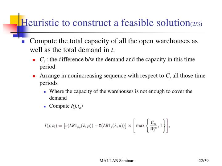 Heuristic to construct a feasible solution