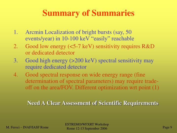 Summary of Summaries