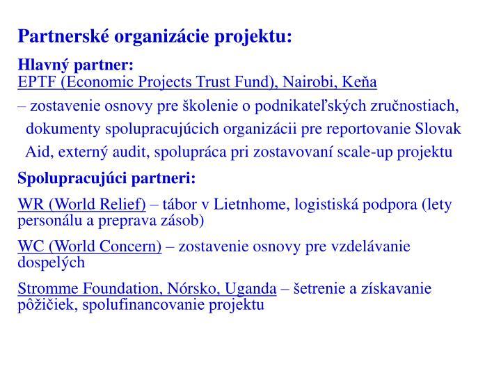 Partnerské organizácie projektu: