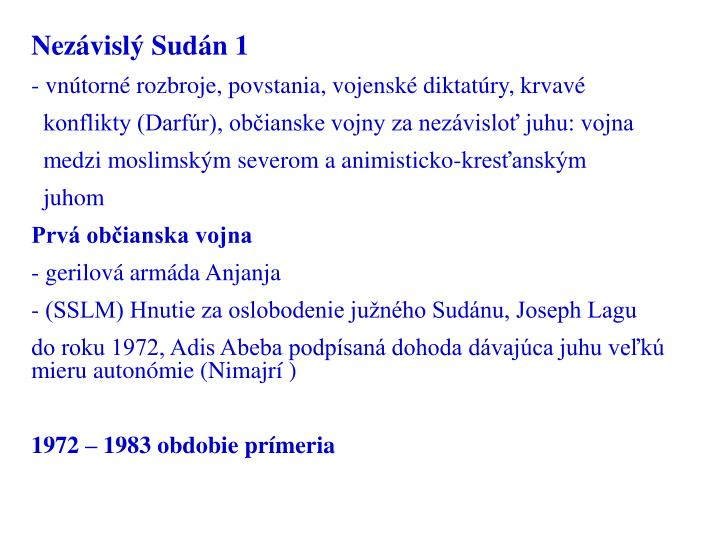Nezávislý Sudán 1