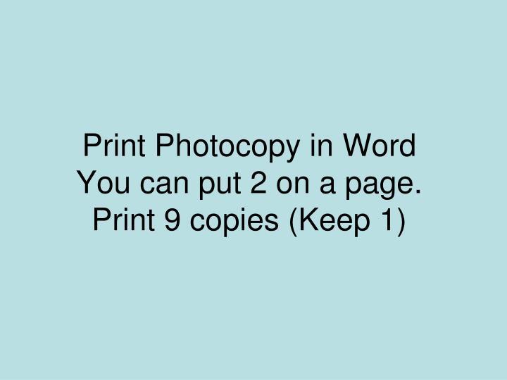 Print Photocopy in Word
