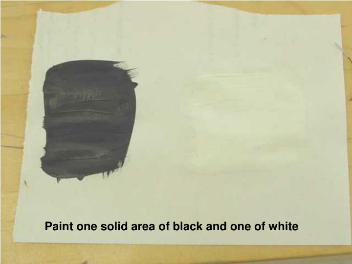 Paint one solid area of black and one of white