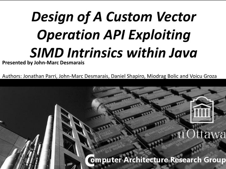PPT - Design of A Custom Vector Operation API Exploiting