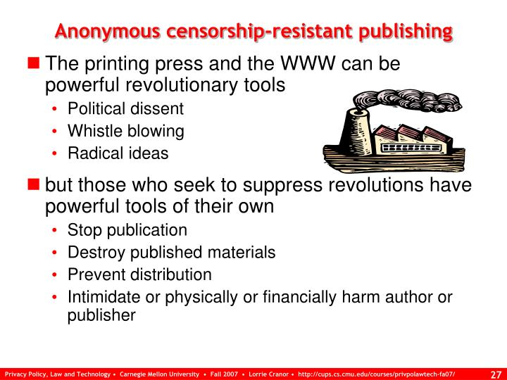 Anonymous censorship-resistant publishing