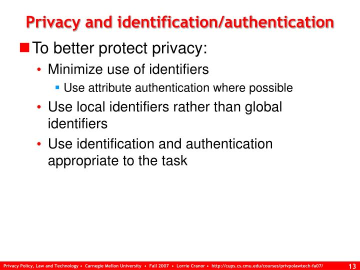 Privacy and identification/authentication