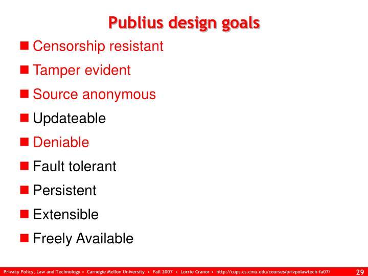 Publius design goals