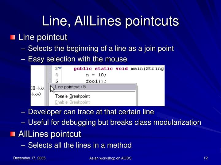 Line, AllLines pointcuts