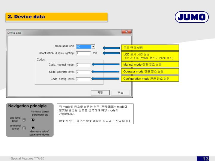 2. Device data